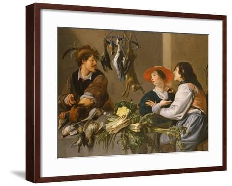 Game and Vegetable Sellers-Theodor Rombouts-Framed Art Print