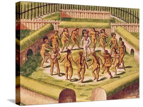 Dancing around a Captive before the Hut Containing the Tamerkas or Idols-Theodore de Bry-Stretched Canvas Print