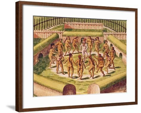 Dancing around a Captive before the Hut Containing the Tamerkas or Idols-Theodore de Bry-Framed Art Print