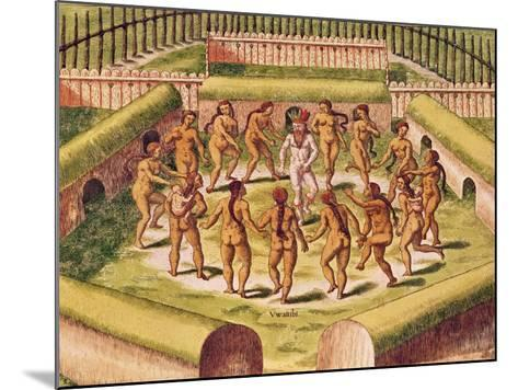 Dancing around a Captive before the Hut Containing the Tamerkas or Idols-Theodore de Bry-Mounted Giclee Print