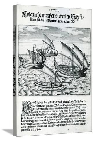 Four Sailing Boats from 'India Orientalis', 1598-Theodore de Bry-Stretched Canvas Print