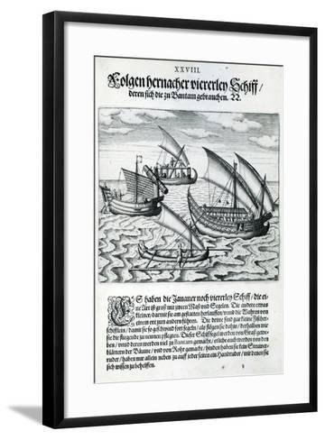 Four Sailing Boats from 'India Orientalis', 1598-Theodore de Bry-Framed Art Print