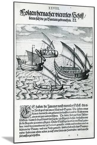 Four Sailing Boats from 'India Orientalis', 1598-Theodore de Bry-Mounted Giclee Print