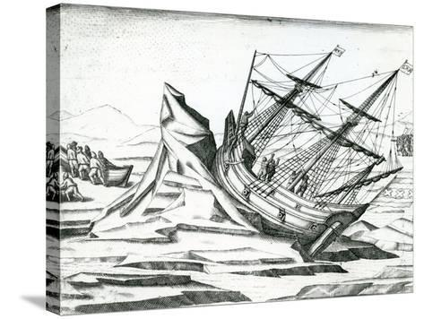 Sailing Ship Stranded on Iceberg from 'India Orientalis' 1598-Theodore de Bry-Stretched Canvas Print
