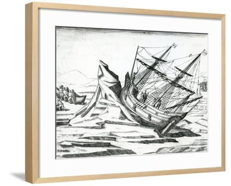 Sailing Ship Stranded on Iceberg from 'India Orientalis' 1598-Theodore de Bry-Framed Art Print