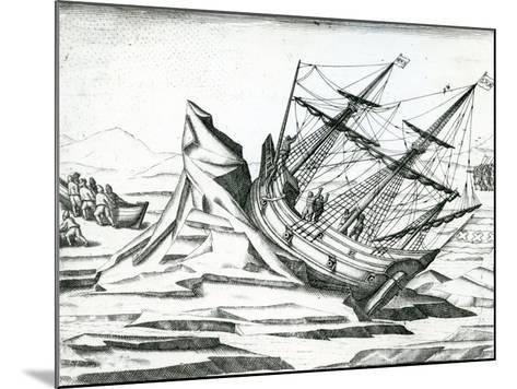 Sailing Ship Stranded on Iceberg from 'India Orientalis' 1598-Theodore de Bry-Mounted Giclee Print