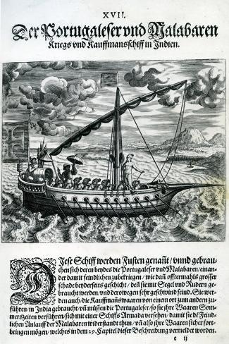 Ship from 'India Orientalis', 1598-Theodore de Bry-Stretched Canvas Print