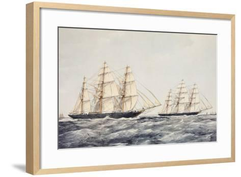 The Tea Clippers Taeping (Left) and Ariel (Right) in the Great Tea Race of 1866-Thomas Goldsworth Dutton-Framed Art Print