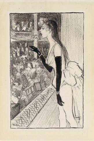 Yvette Gilbert at the Theatre, (Brush and Black Ink, Charcoal and Black Crayon on Paper)-Theophile Alexandre Steinlen-Stretched Canvas Print
