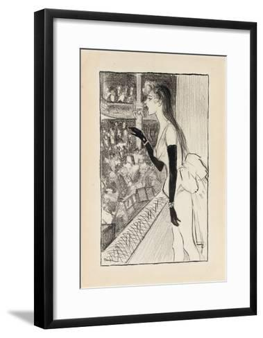 Yvette Gilbert at the Theatre, (Brush and Black Ink, Charcoal and Black Crayon on Paper)-Theophile Alexandre Steinlen-Framed Art Print