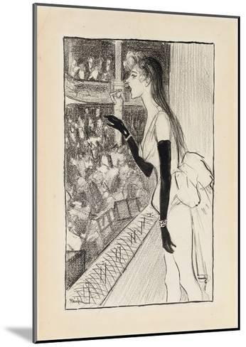 Yvette Gilbert at the Theatre, (Brush and Black Ink, Charcoal and Black Crayon on Paper)-Theophile Alexandre Steinlen-Mounted Giclee Print