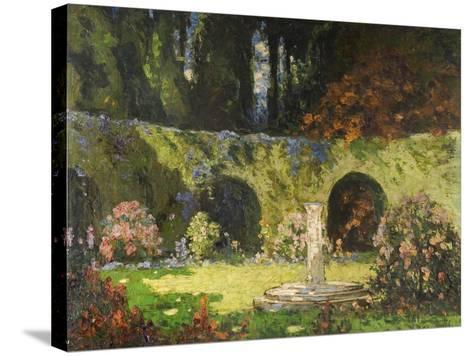 In an Old-World Garden-Thomas Edwin Mostyn-Stretched Canvas Print