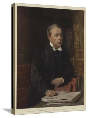 The Earl of Rosebery Speaking in the House of Lords-Sydney Prior Hall-Stretched Canvas Print