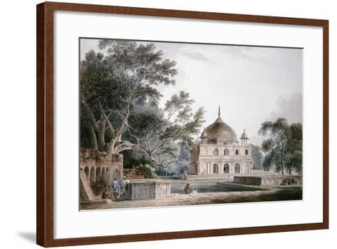 The Mausoleum of Prince Khusrau, Allahabad, Uttar Pradesh, (Pencil and W/C)-Thomas & William Daniell-Framed Art Print