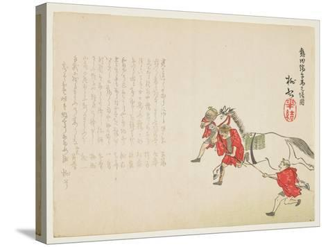 Ceremonial Presentation of a White Horse at the Atsuta Shrine for the Boy's Festival, C.1854-59- T?s?-Stretched Canvas Print