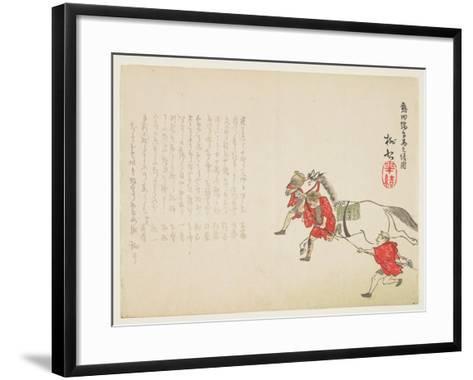 Ceremonial Presentation of a White Horse at the Atsuta Shrine for the Boy's Festival, C.1854-59- T?s?-Framed Art Print
