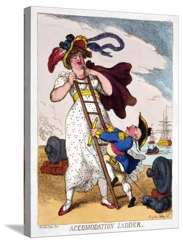 Accommodation Ladder, 1811-Thomas Rowlandson-Stretched Canvas Print