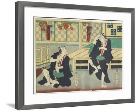 Sawamura Tossho II as Kinohei and Ichimura Kakitsu I as Kippei, May 1865-Toyohara Kunichika-Framed Art Print