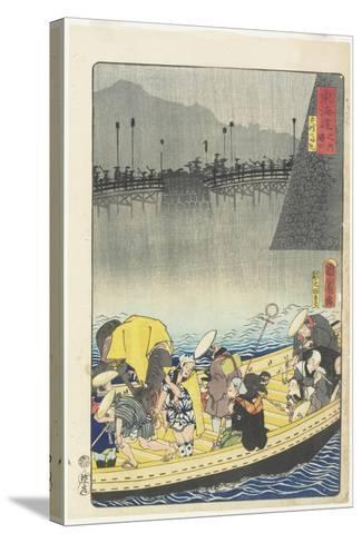 Returning Sails at Yabase in Zeze, April 1863-Toyohara Kunichika-Stretched Canvas Print