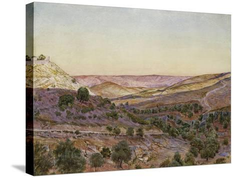 The Hills of Moab and the Valley of Hinnom, 1854 (Watercolour and Bodycolour)-Thomas Seddon-Stretched Canvas Print