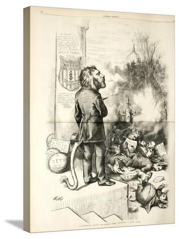 A General Blow Up - Dead Asses Kicking a Live Lion, 1874-Thomas Nast-Stretched Canvas Print