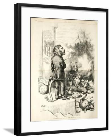 A General Blow Up - Dead Asses Kicking a Live Lion, 1874-Thomas Nast-Framed Art Print