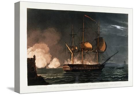 Cutting Out the Hermoine from the Harbour of Porto Cavailo-Thomas Whitcombe-Stretched Canvas Print