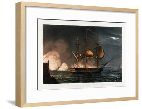Cutting Out the Hermoine from the Harbour of Porto Cavailo-Thomas Whitcombe-Framed Art Print