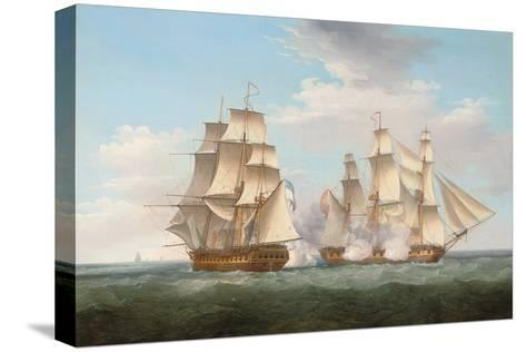 H.M.S. Ethalion in Action with the Spanish Frigate Thetis Off Cape Finisterre-Thomas Whitcombe-Stretched Canvas Print