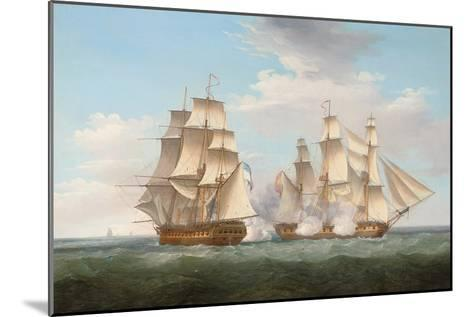 H.M.S. Ethalion in Action with the Spanish Frigate Thetis Off Cape Finisterre-Thomas Whitcombe-Mounted Giclee Print
