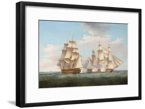 H.M.S. Ethalion in Action with the Spanish Frigate Thetis Off Cape Finisterre-Thomas Whitcombe-Framed Art Print