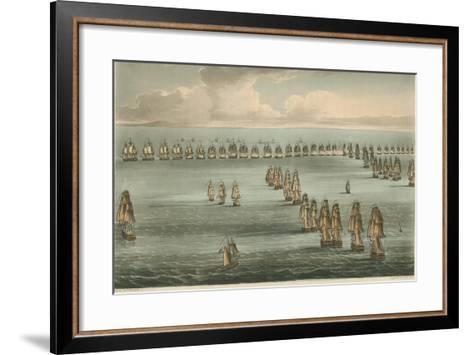 Commencement of the Battle of Trafalgar, 1805-Thomas Whitcombe-Framed Art Print