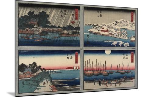 Evening Snow at Shinobazu-Utagawa Hiroshige-Mounted Giclee Print