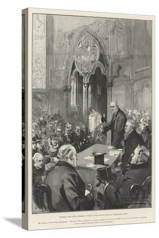 Unveiling the Lowell Memorial Window in the Chapter House of Westminster Abbey-Thomas Walter Wilson-Stretched Canvas Print