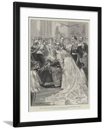 The Royal Wedding at Coburg, Her Majesty the Queen Embracing the Bride after the Wedding Ceremony-Thomas Walter Wilson-Framed Art Print