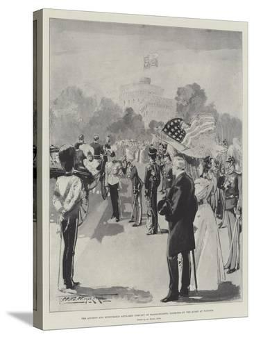 The Ancient and Honourable Artillery Company of Massachusetts Inspected by the Queen at Windsor-Thomas Walter Wilson-Stretched Canvas Print