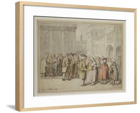 A Group Sketched at Rome (Pen and Reddish-Brown Ink and Watercolour over Indications in Graphite)-Thomas Rowlandson-Framed Art Print