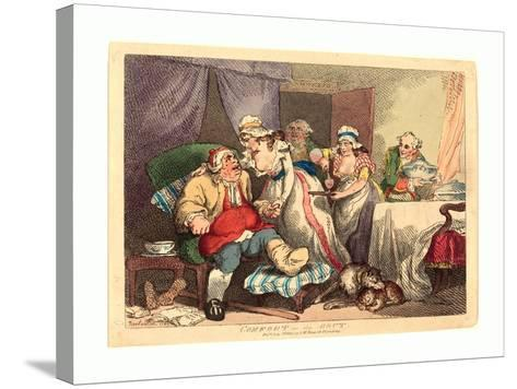 Comfort in the Gout, 1785, Hand-Colored Etching, Rosenwald Collection-Thomas Rowlandson-Stretched Canvas Print