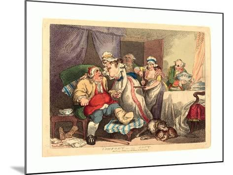 Comfort in the Gout, 1785, Hand-Colored Etching, Rosenwald Collection-Thomas Rowlandson-Mounted Giclee Print