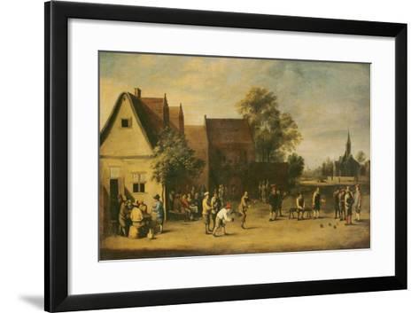 Bowls Players on a Village Green-Thomas van Apshoven-Framed Art Print