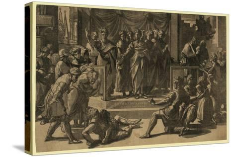 The Death of Ananias, Between 1515 and 1535-Ugo da Carpi-Stretched Canvas Print