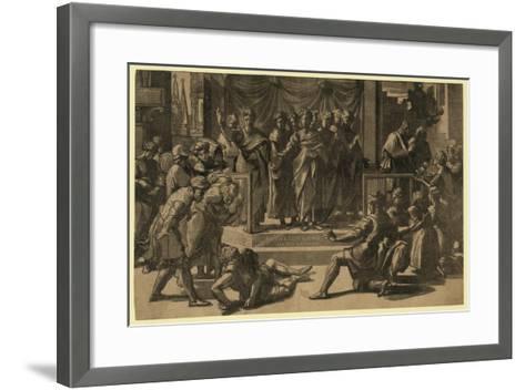 The Death of Ananias, Between 1515 and 1535-Ugo da Carpi-Framed Art Print