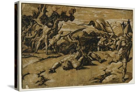 David Slaying Goliath, C. 1518-Ugo da Carpi-Stretched Canvas Print