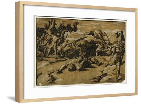 David Slaying Goliath, C. 1518-Ugo da Carpi-Framed Art Print