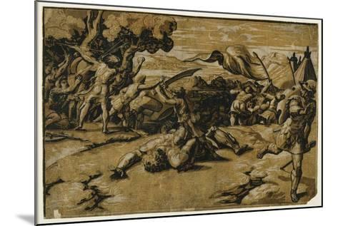 David Slaying Goliath, C. 1518-Ugo da Carpi-Mounted Giclee Print