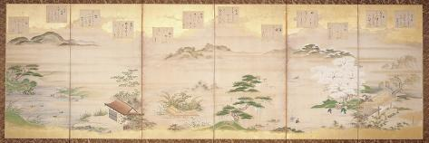 Six Panel Screen with Birds and Flowers of the Twelve Months (Ink, Colour and Gold Leaf on Paper)-Tosa Mitsunari-Stretched Canvas Print