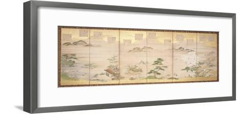 Six Panel Screen with Birds and Flowers of the Twelve Months (Ink, Colour and Gold Leaf on Paper)-Tosa Mitsunari-Framed Art Print