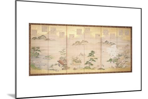 Six Panel Screen with Birds and Flowers of the Twelve Months (Ink, Colour and Gold Leaf on Paper)-Tosa Mitsunari-Mounted Giclee Print