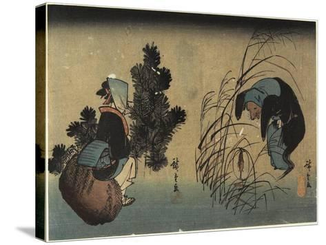 Woman and Badger-Utagawa Hiroshige-Stretched Canvas Print