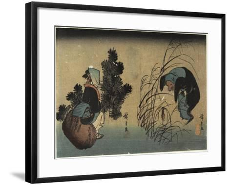 Woman and Badger-Utagawa Hiroshige-Framed Art Print